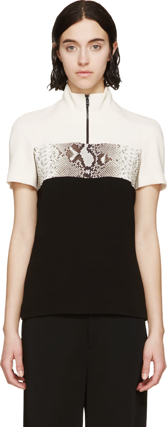 Carven Black Python Polo Top