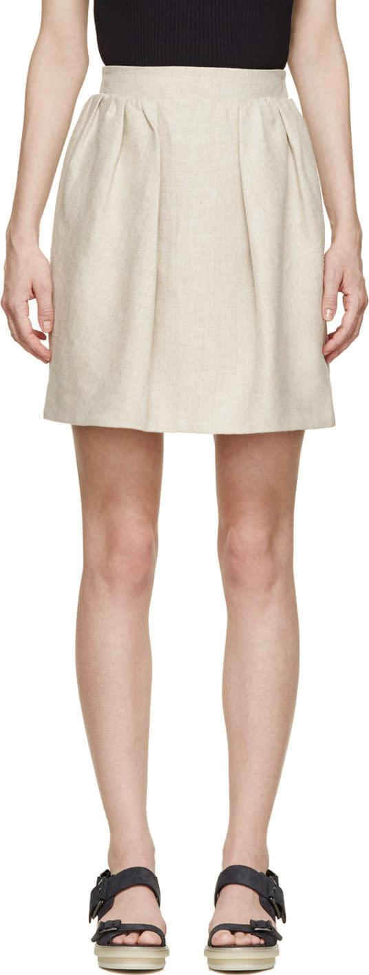 Carven Beige Linen Pleated Skirt