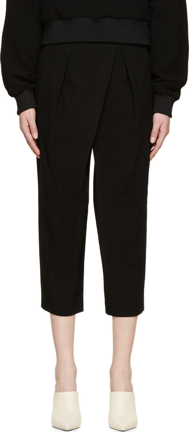 Chloe Black Asymmetrical Textured Trousers