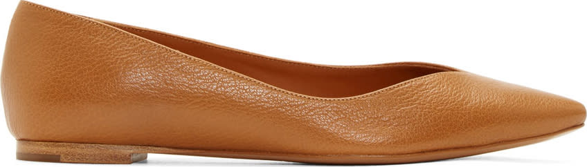Chloé Cognac Leather Pointed Flats