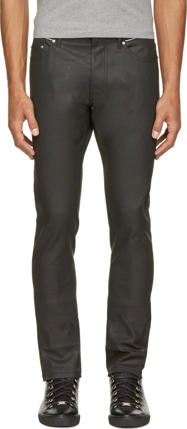 Balenciaga Black Coated Skinny Jeans