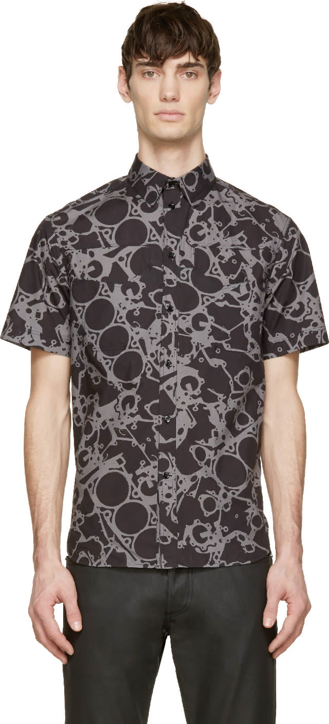 Balenciaga Black Mechanic Print Shirt
