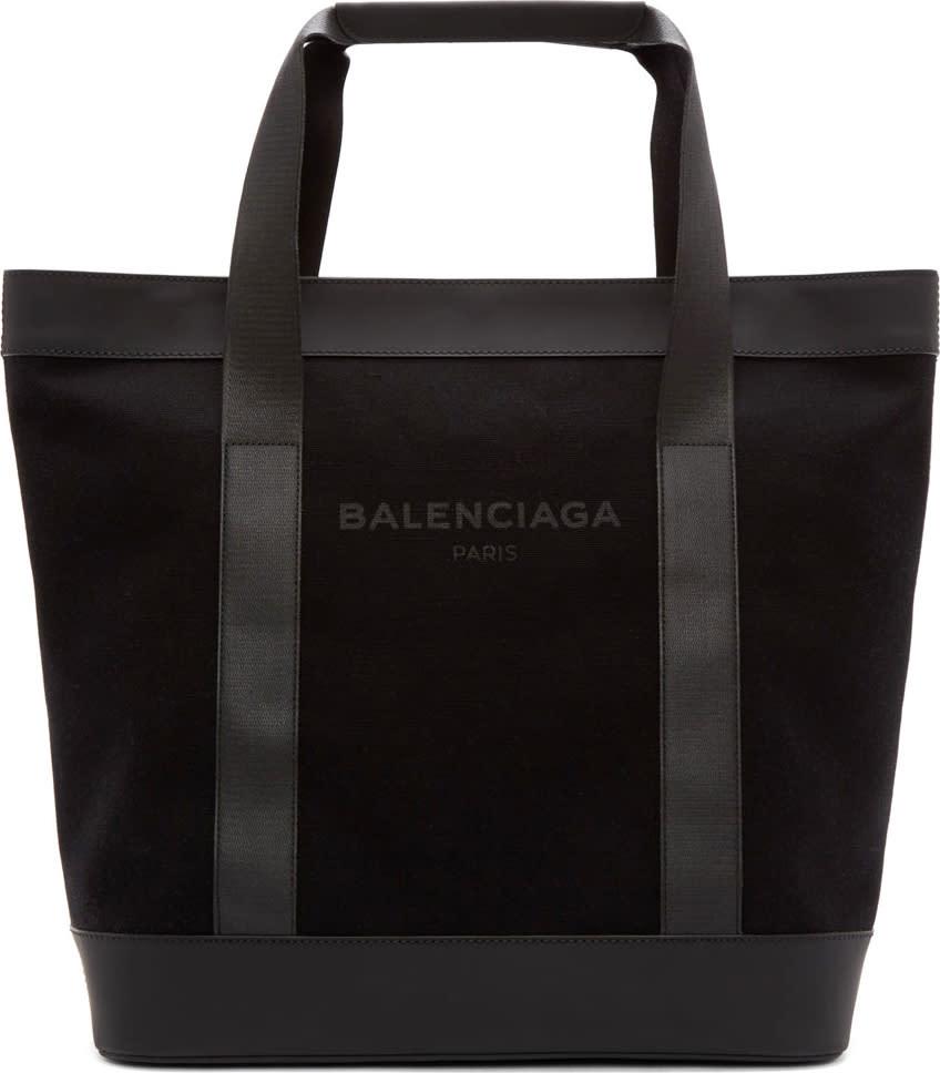 Balenciaga Black Canvas Logo Tote Bag