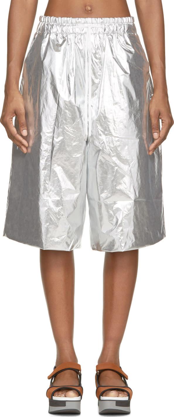 Juun.j Silver Foil Shorts