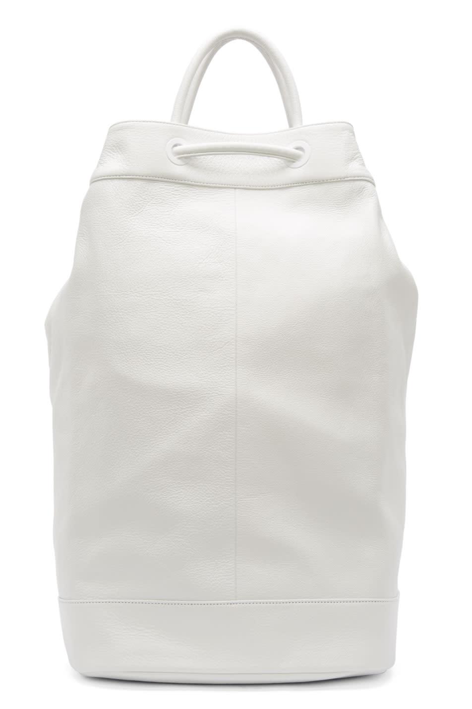 Juun.j White Leather Drawstring Backpack