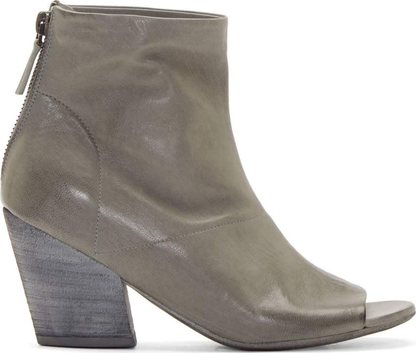Marsell Grey Peep Toe Ankle Boots