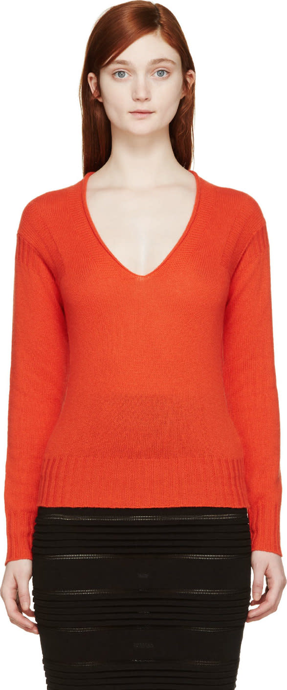 Image of Burberry Prorsum Orange Cashmere V-neck Sweater