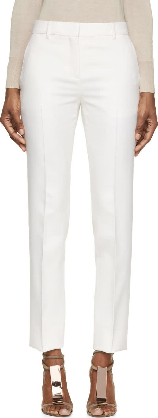 Burberry Prorsum Ivory Tuxedo Trousers at SSENSE
