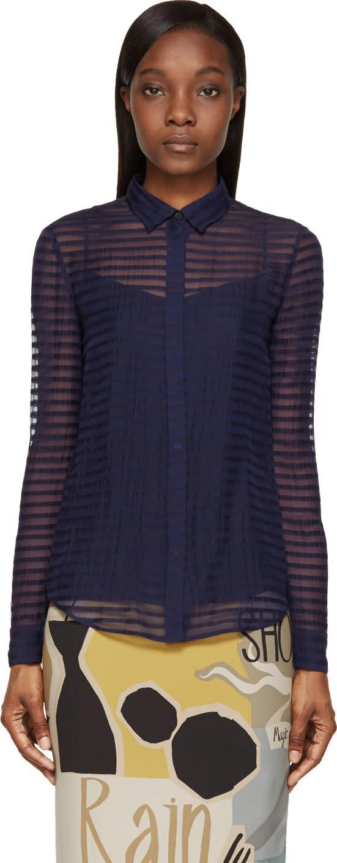 Burberry Prorsum Bright Navy Sheer Striped Silk Chiffon Shirt at SSENSE
