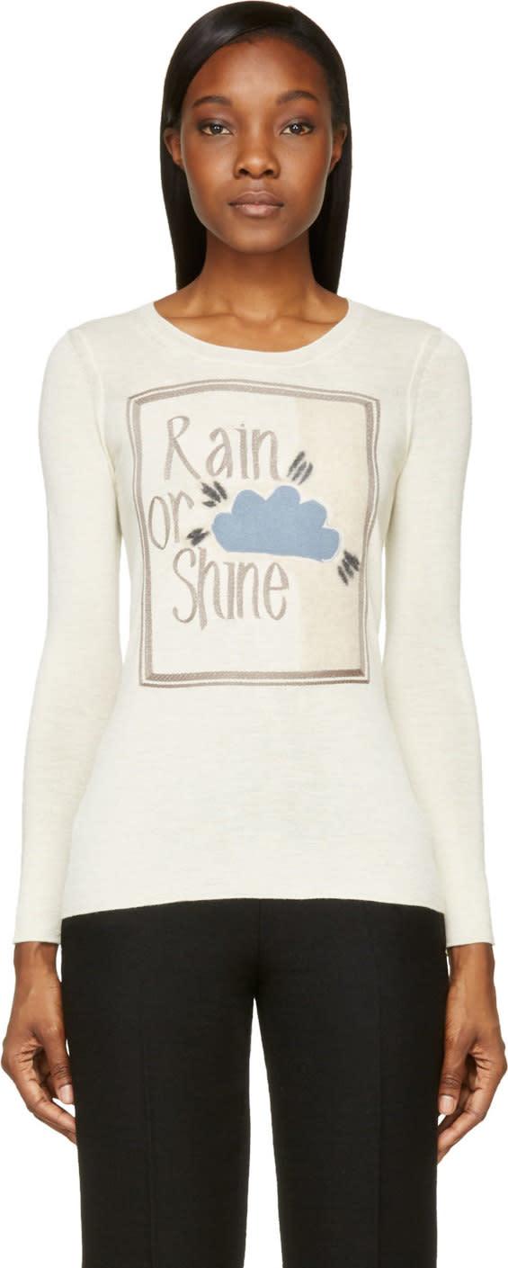 Burberry Prorsum Ecru Alpaca Rain Or Shine Book Cover Sweater at SSENSE