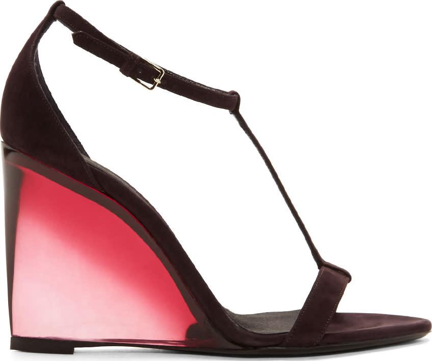 Burberry Prorsum Aubergine Suede Leyburn Wedge Sandals at SSENSE
