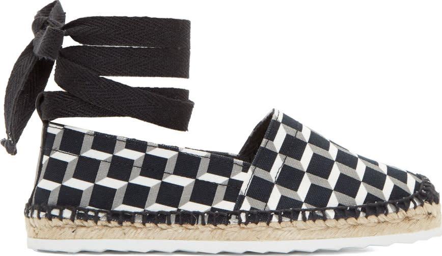 Pierre Hardy Black Cubist Print Lace-up Espadrilles