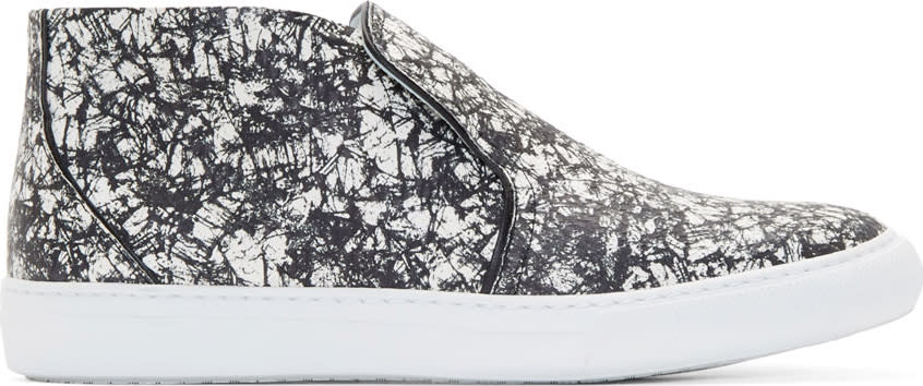 Image of Pierre Hardy Black and White Snakeskin Slip-on Sneakers