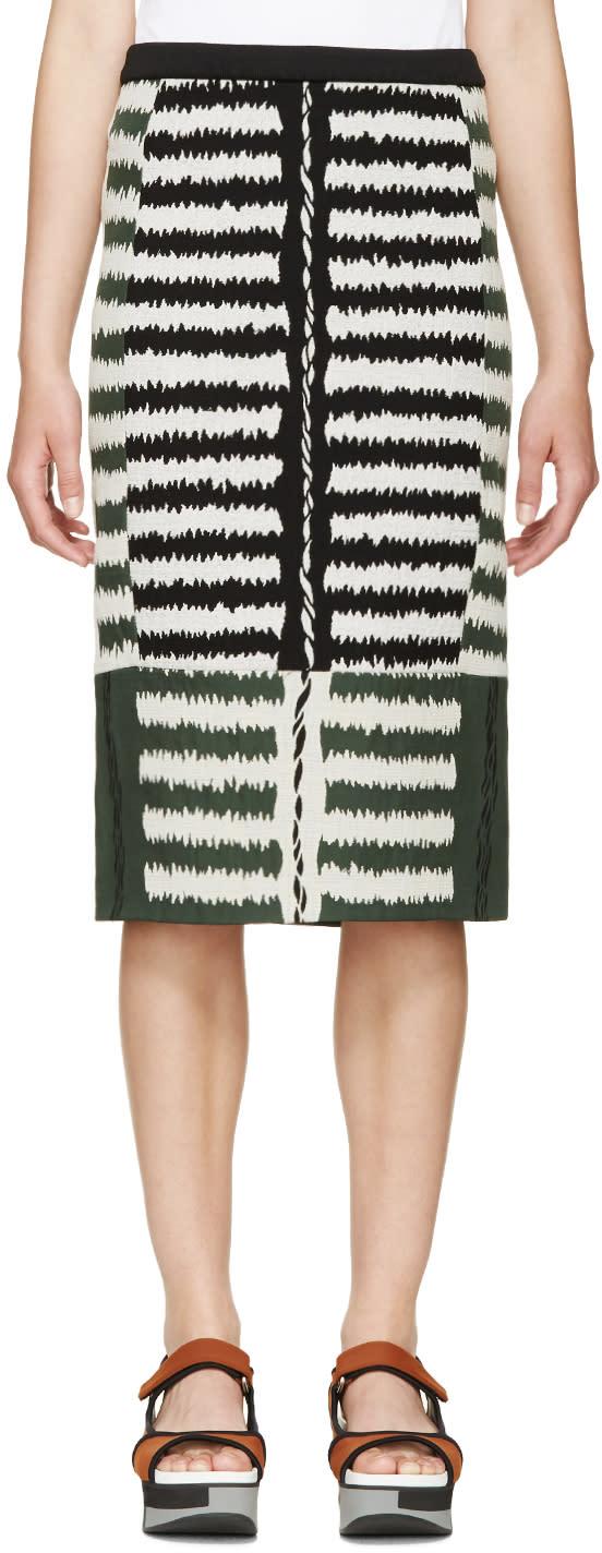 Marni Green Jacquard Pencil Skirt