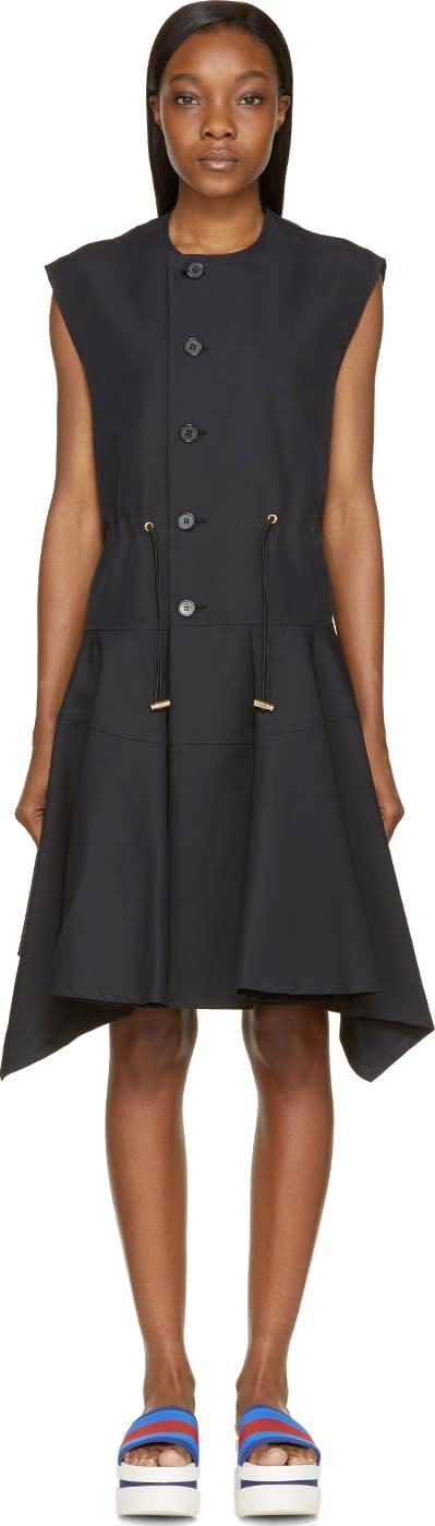 Marni Coal Sleeveless Button-up Pleated Coat