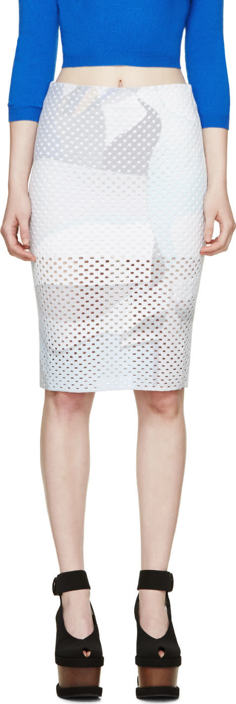 Kenzo White Stretch Perforated Skirt