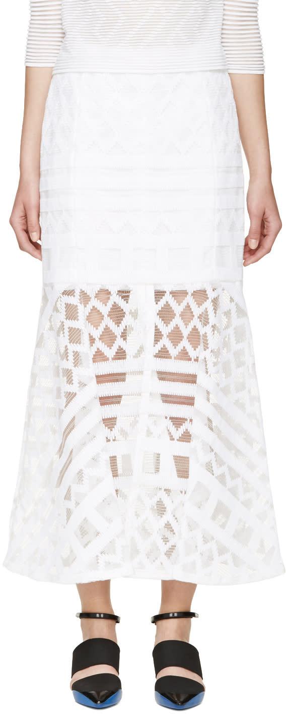 Kenzo White Graphic Net Weave Skirt