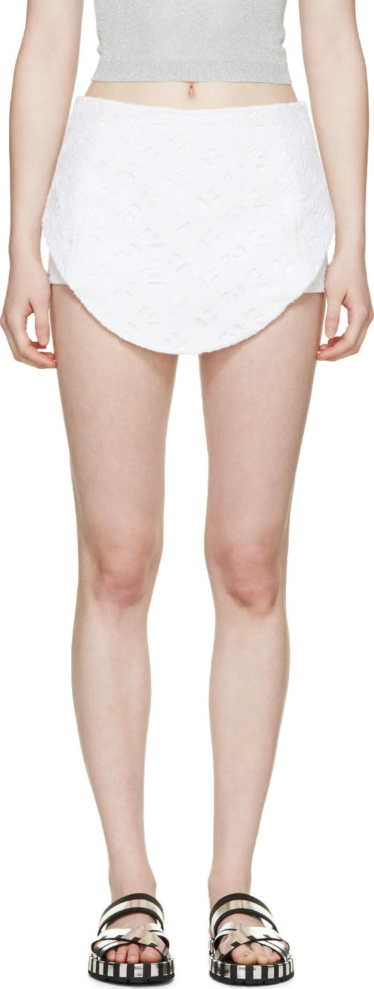 Kenzo White Eyelet Logo Flying Shorts