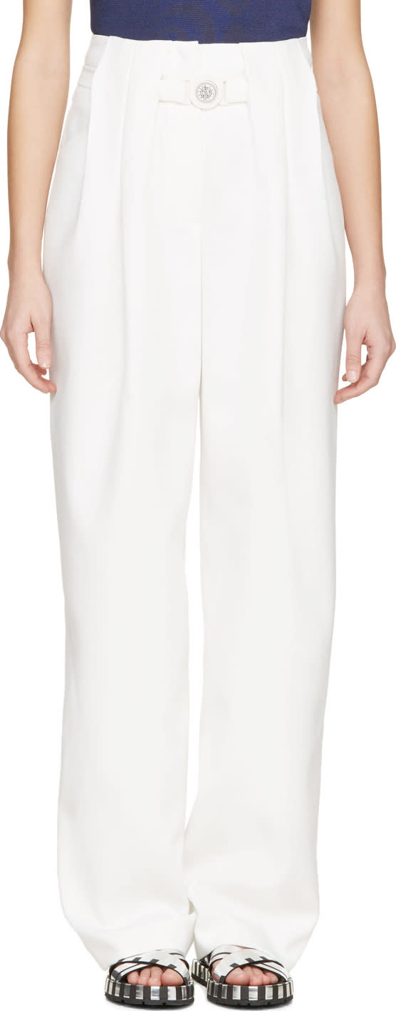 Kenzo White Crepe High-waisted Wide Leg Trousers