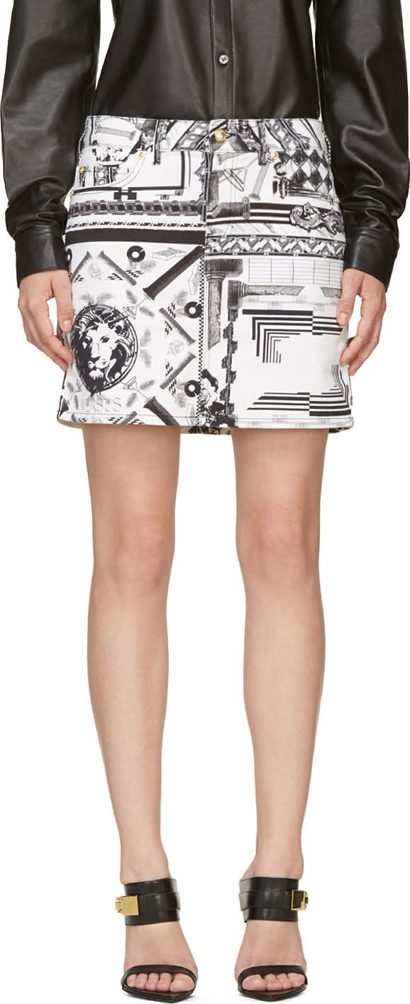 Versus White and Black Mixed Print Anthony Vaccarello Edition Skirt