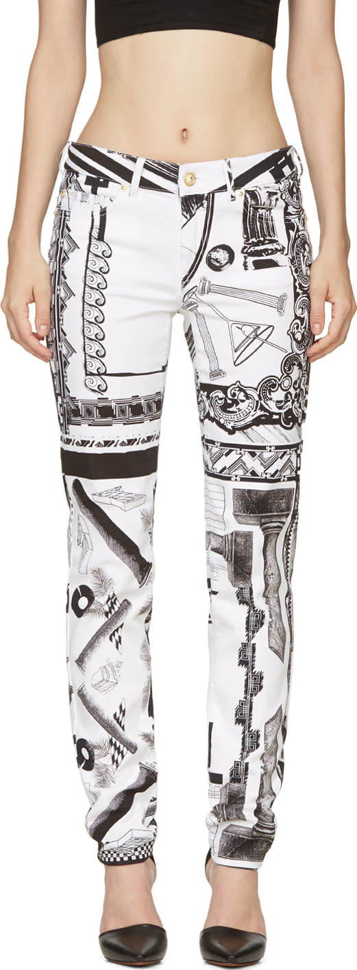 Versus White and Black Mixed Print Anthony Vaccarello Edition Jeans