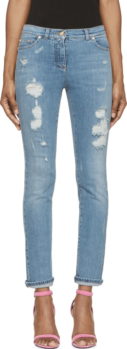 Versace Blue Distressed Skinny Jeans