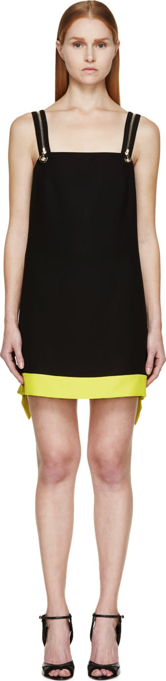 Image of Versace Black and Lime Colorblock Zip Strap Dress