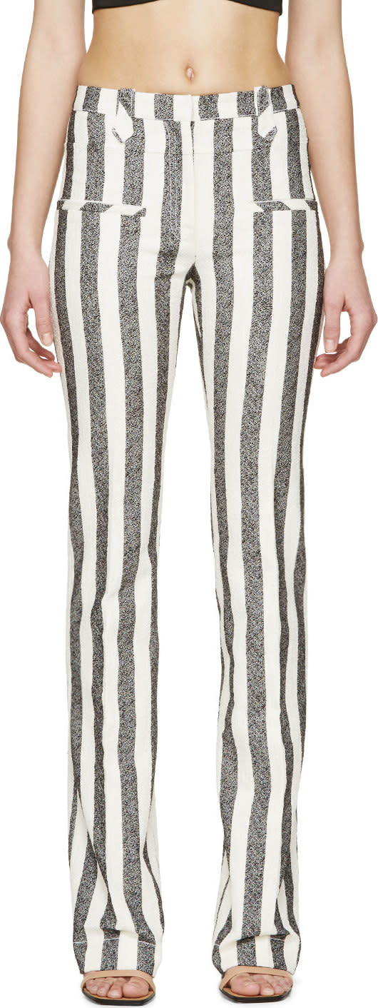 Altuzarra Black and Ivory Striped Trousers