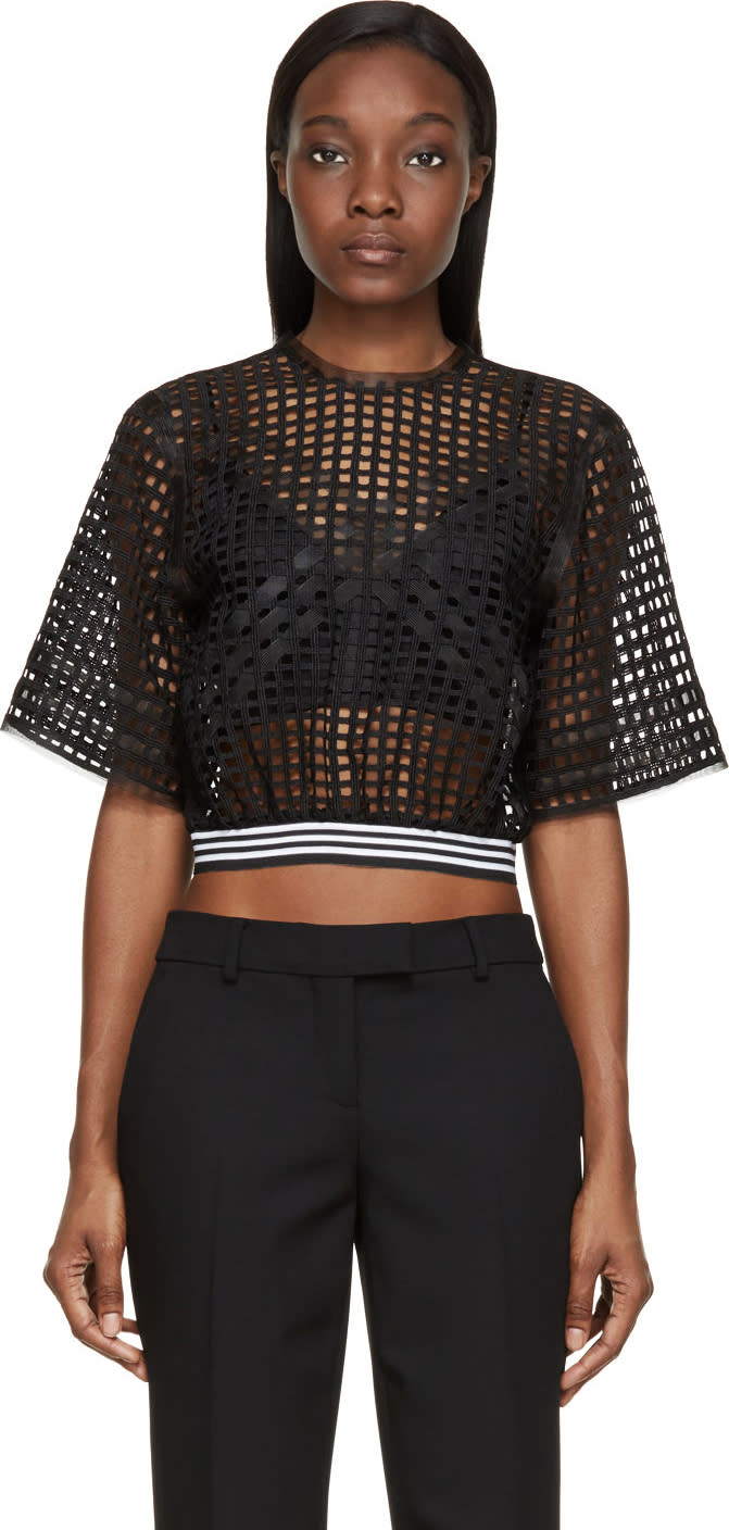 Denis Gagnon Black Lattice Mesh Short Sleeve Top
