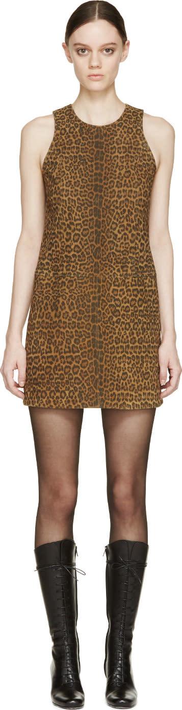Saint Laurent Tan and Brown Suede Leopard Shift Dress