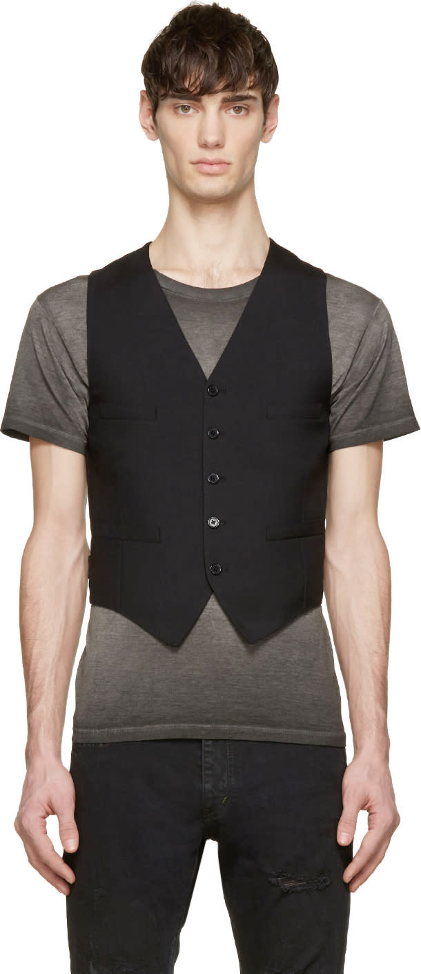Saint Laurent Black Wool and Silk Classic Waistcoat