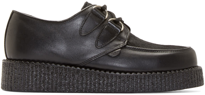 Underground Black Leather and Calf-hair Wulfrun Creepers