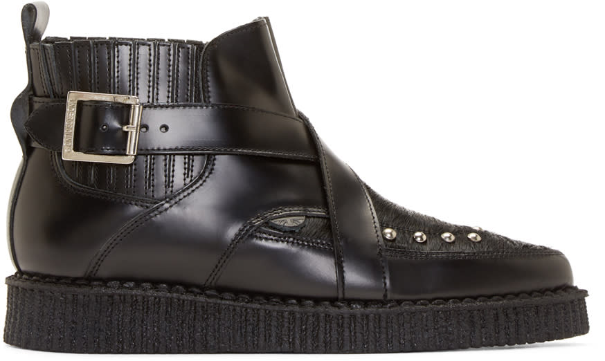 Underground Black Leather and Calf-hair Creeper Boots