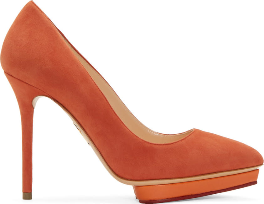 Charlotte Olympia Ssense Exclusive Orange Suede Debbie Pumps