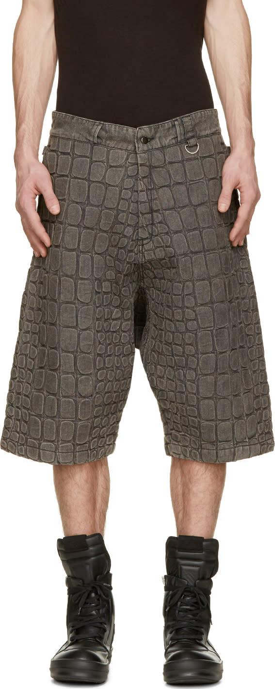 Ktz Grey Denim Croc Washed Shorts