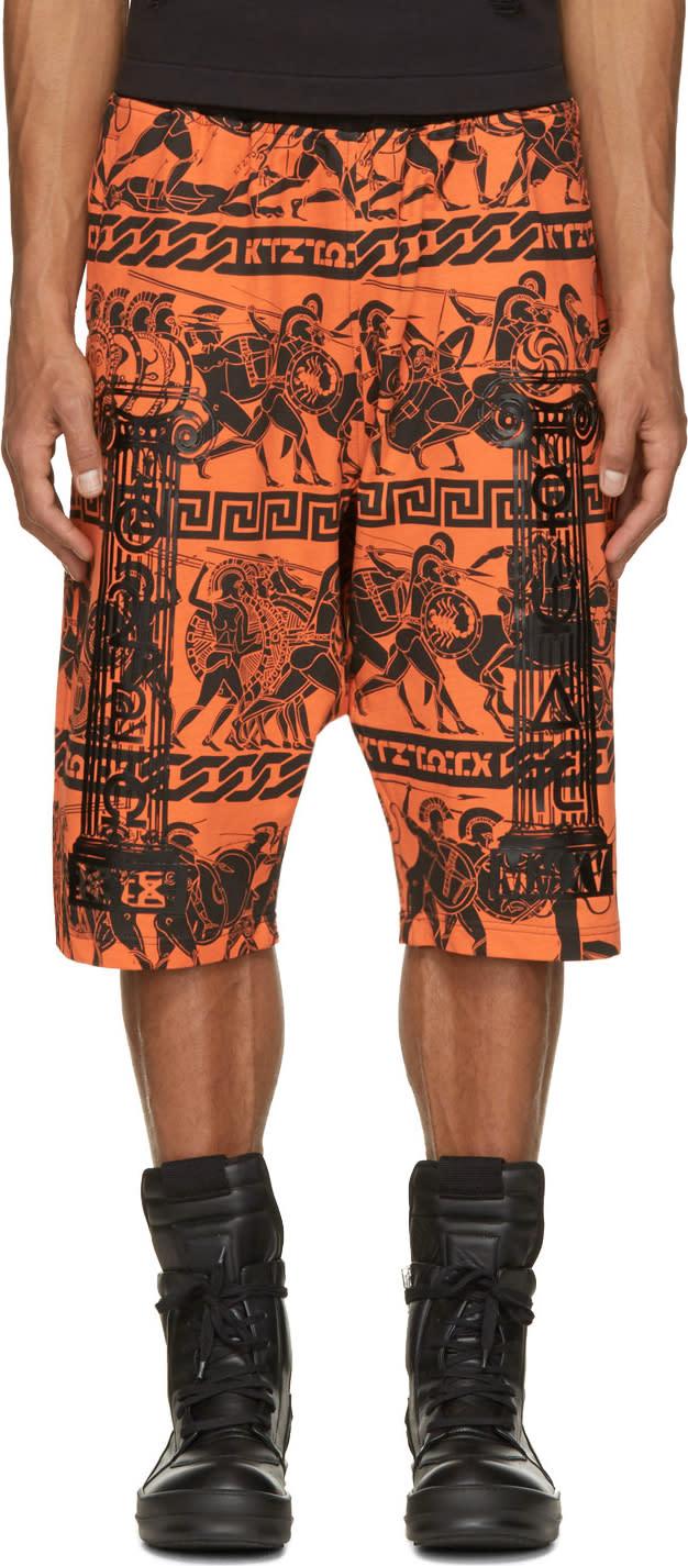Ktz Orange and Black Jersey Greek Print Shorts