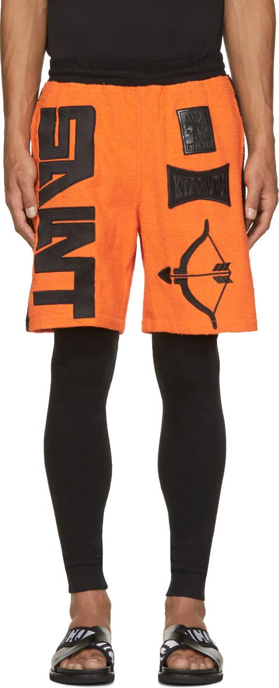 Ktz Orange and Black Terrycloth Arrow Shorts