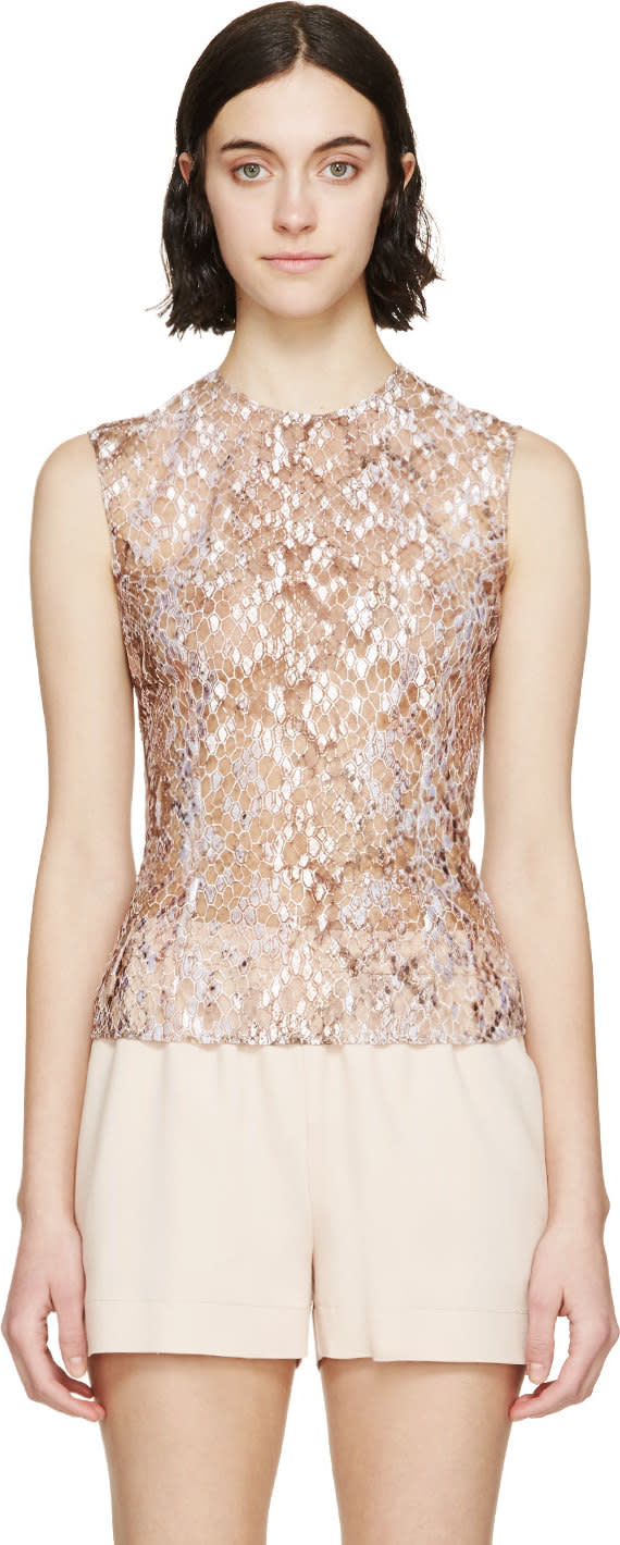 Mary Katrantzou Nude Embroidered Sheer Tulle Top