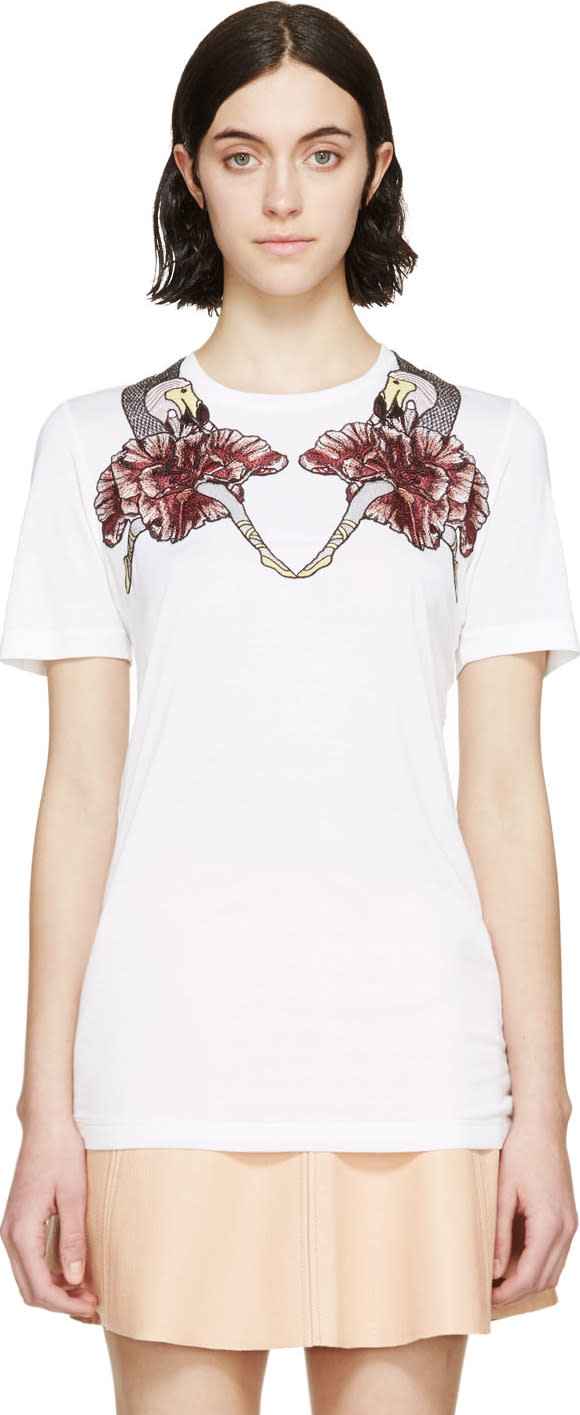 Mary Katrantzou White Dodo Embroidered T-shirt