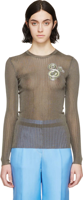 Mary Katrantzou Green Beaded Snake Sweater