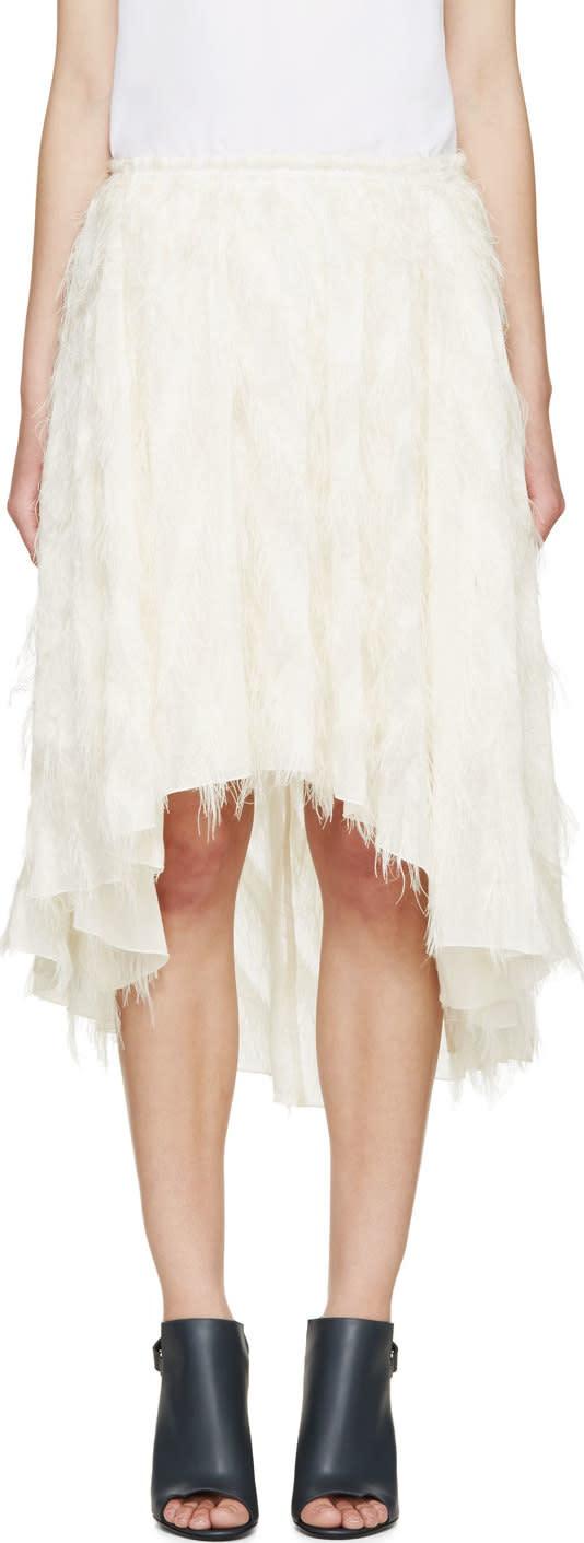 Cedric Charlier Ivory Fringe Skirt