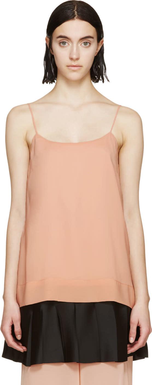 Cedric Charlier Pink Pleated Hem Tank Top