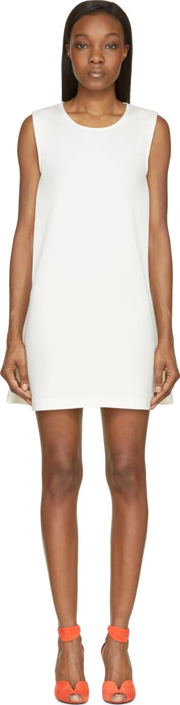 Cedric Charlier Ecru Cotton Sleeveless Jersey Dress