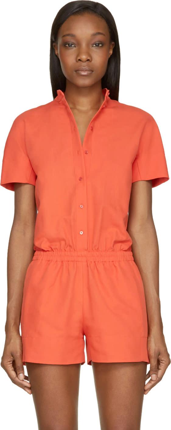 Cedric Charlier Orange Cotton Button Down Jumpsuit