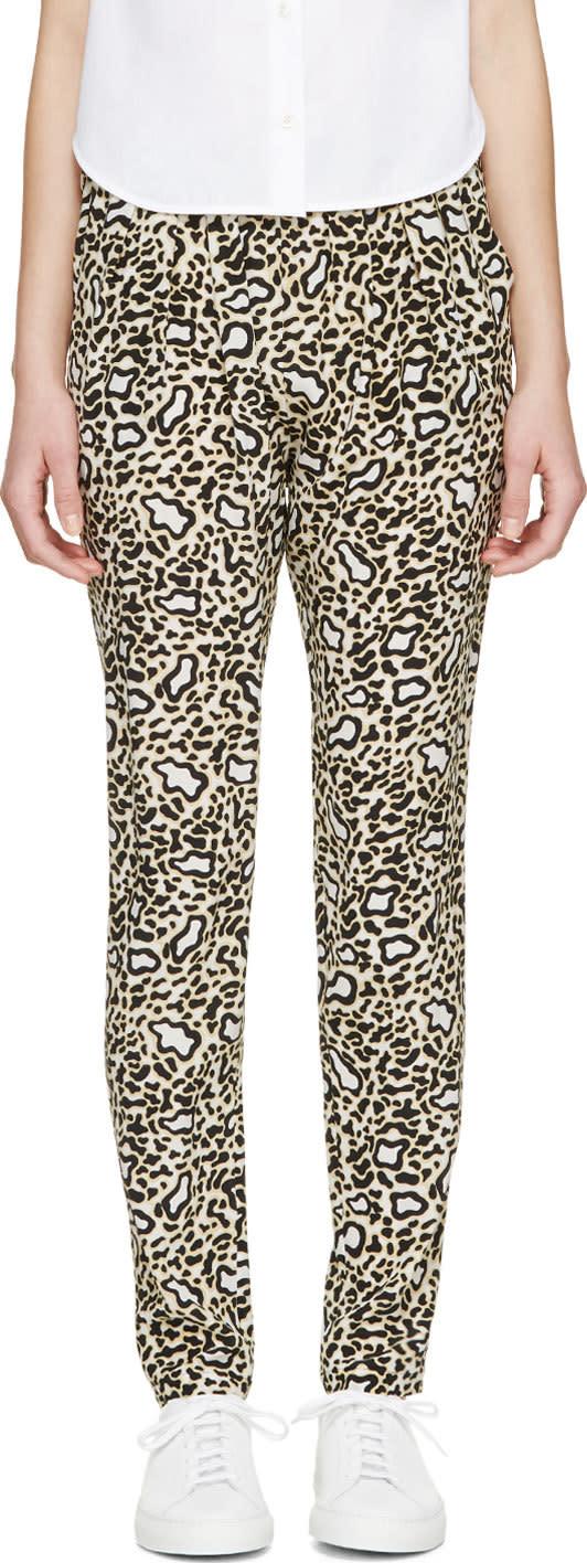 Stella Mccartney Black and White Silk Leoapard Trousers