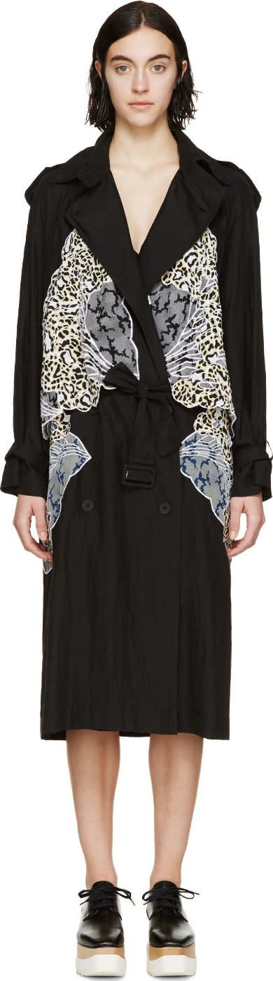 Stella Mccartney Black Silk Drape Trench Coat