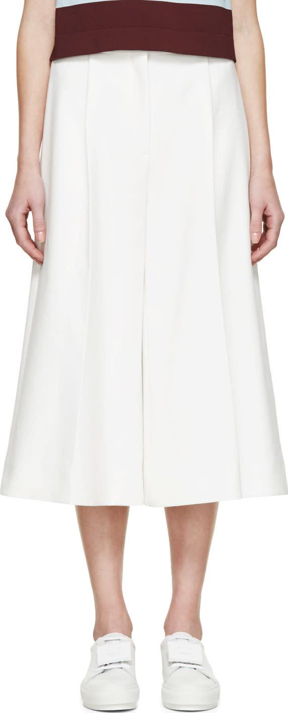 Stella Mccartney White Cropped Wide-leg Trousers