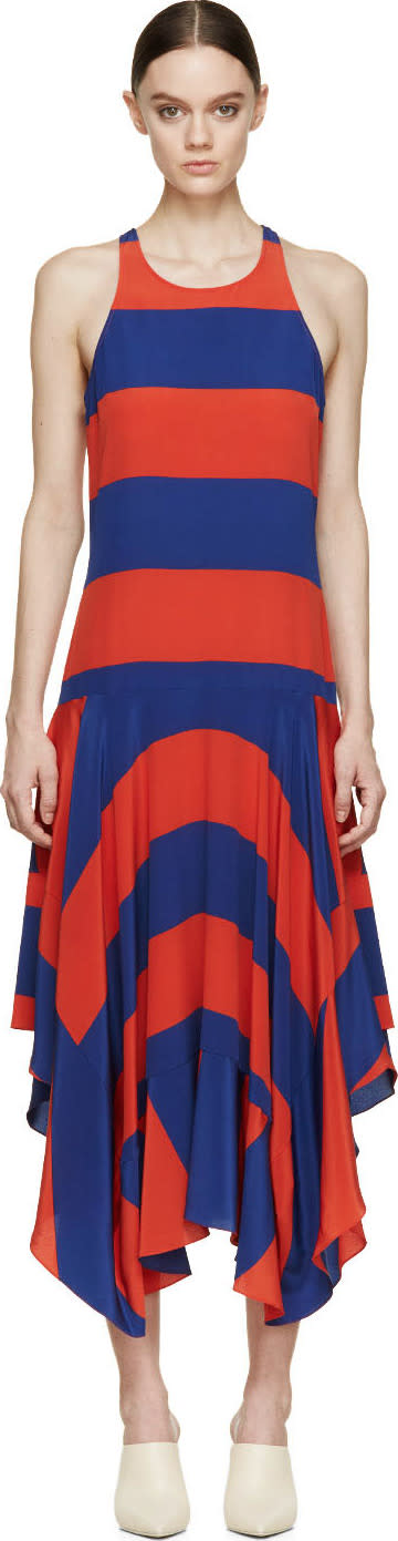 Stella Mccartney Red and Blue Silk Rugby Stripes Dress