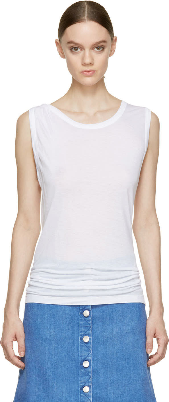 Stella Mccartney Pure White Twist Strap Tank Top