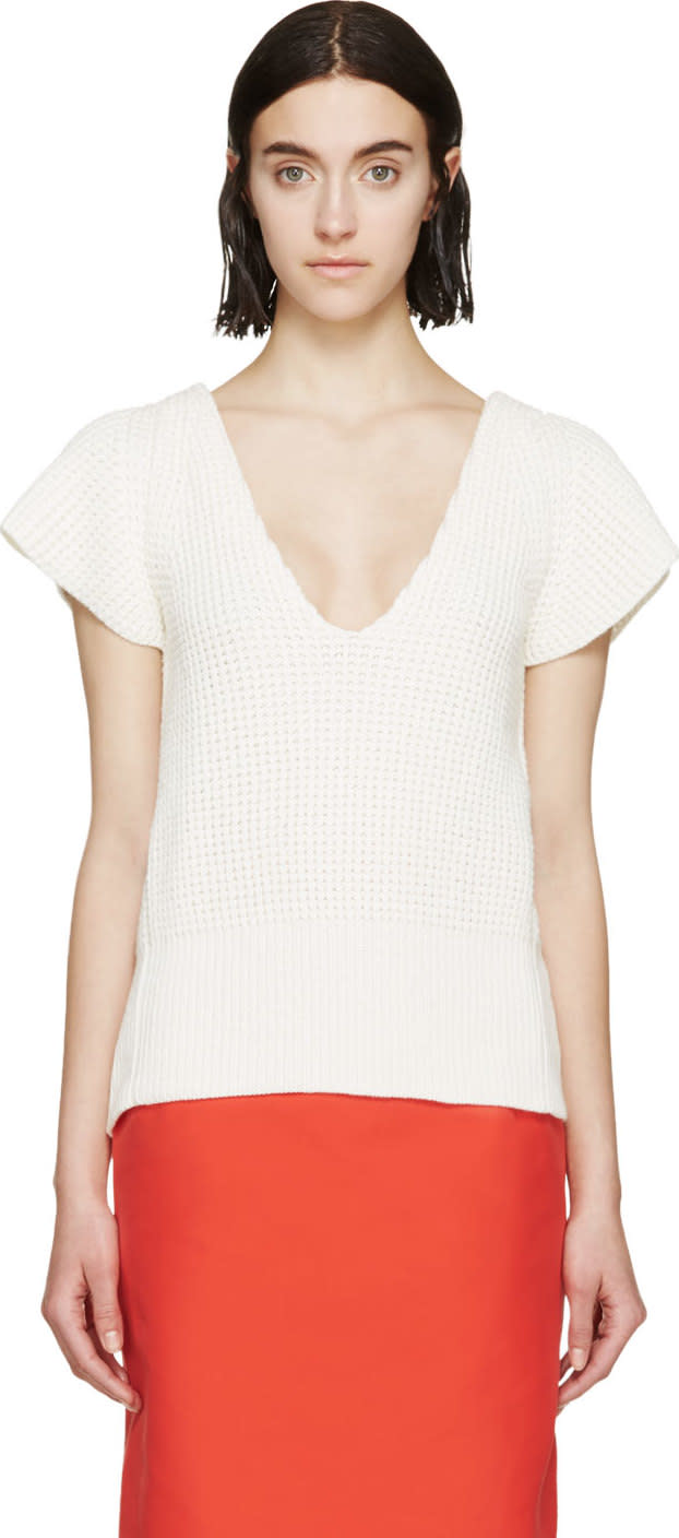 Nina Ricci White Open-back Knit Top